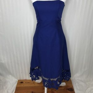 Betsey Johnson Royal Blue Strapless Floral Dress